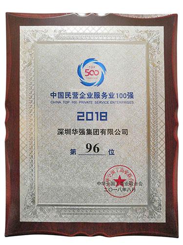 2018中国民营企业服务业100强第96位